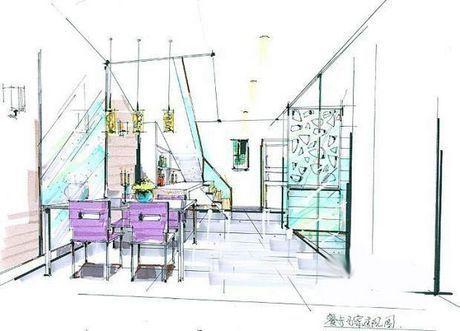 欧美餐桌设计手绘图