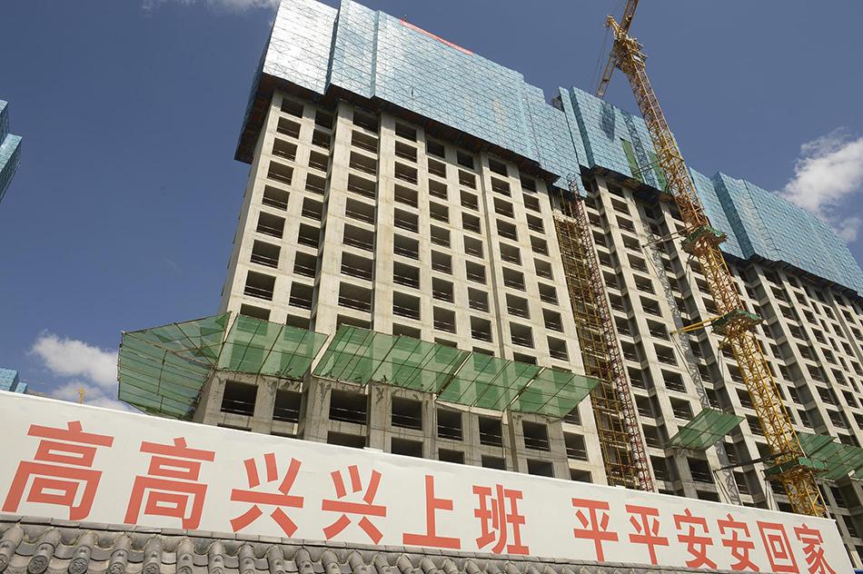 2018年8月30日,呼和浩特市内一处在建楼盘。   视觉中国 资料图