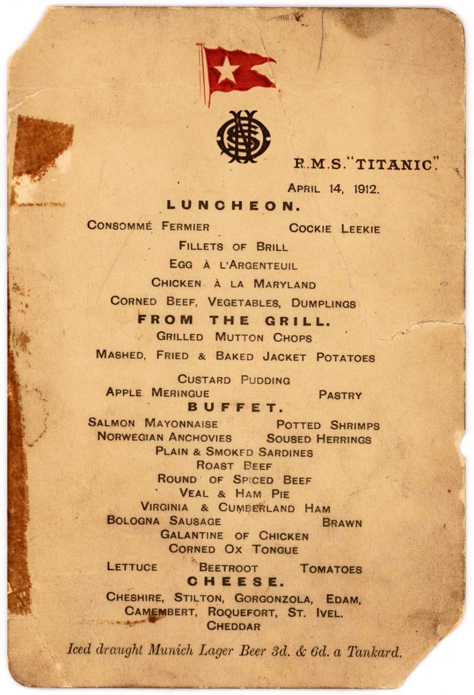 """这是泰坦尼克号上""""最后的午餐"""" 珍贵菜单将在纽约拍卖(图)_图1-1"""