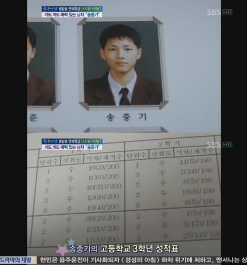 《太阳的后裔》宋仲基高中成绩单曝光(图)
