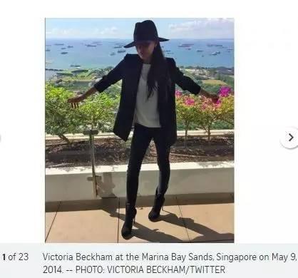 ▲维多利亚。贝克汉姆2014年在新加坡滨海湾金沙酒店。(图据《海峡时报》)