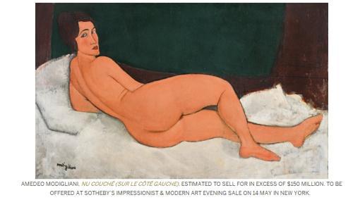 莫迪里安尼的画作《向左侧卧的裸女》。图片来源:苏富比拍卖行网站截图