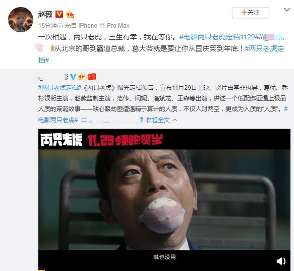 赵薇监制主演电影《两只老虎》定档 葛优乔杉主演