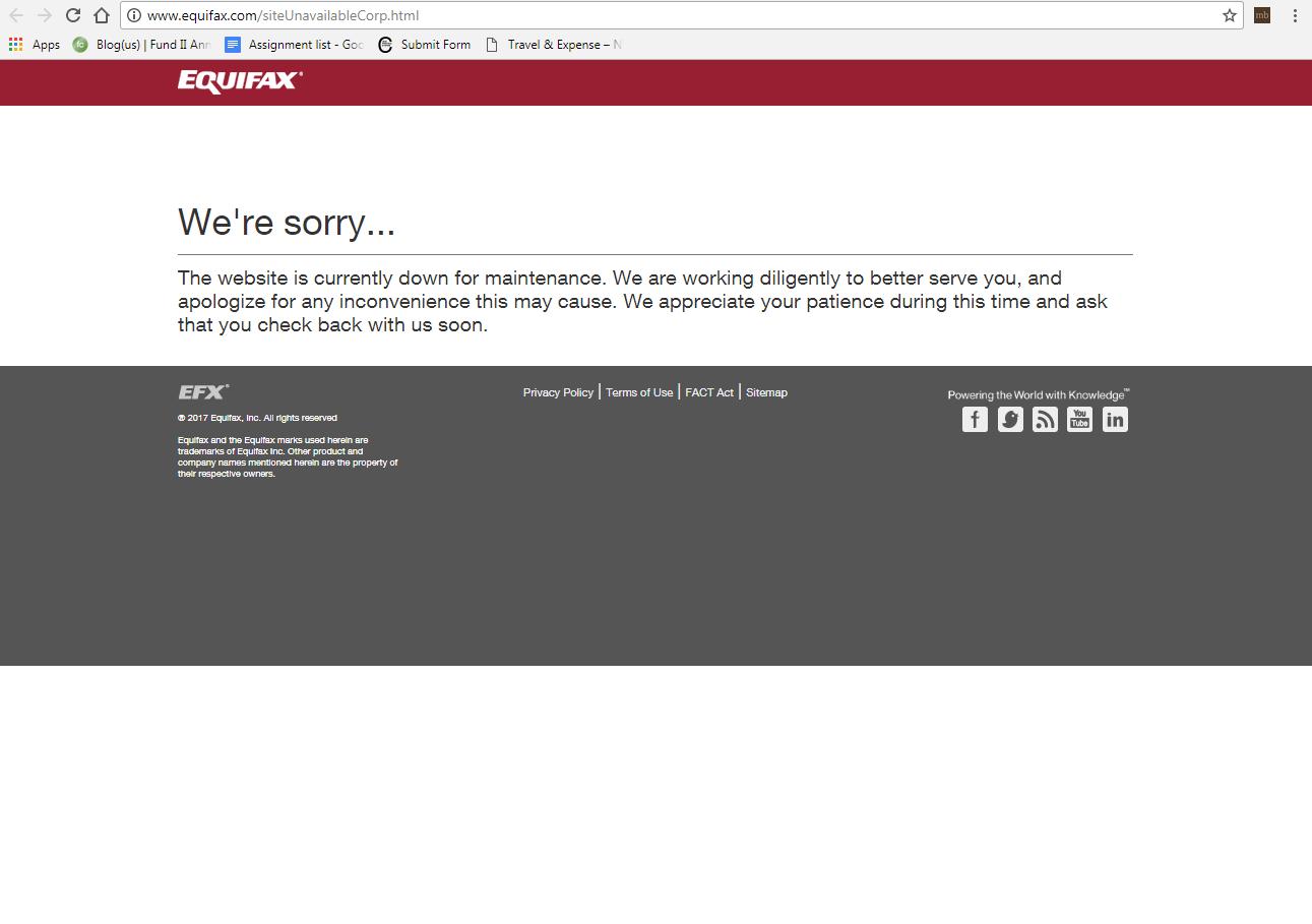 新一轮黑客攻击?Equifax网页被取下 股票一度暴跌_图1-1