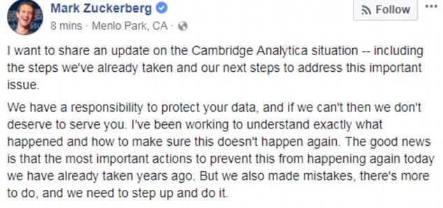 脸书爆出用户数据泄露丑闻后 扎克伯格终于回应了......_图1-1