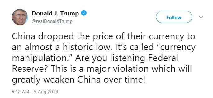 人民币贬值致美股暴跌 道指跳水近800点 川普指中国操纵汇率_图1-2