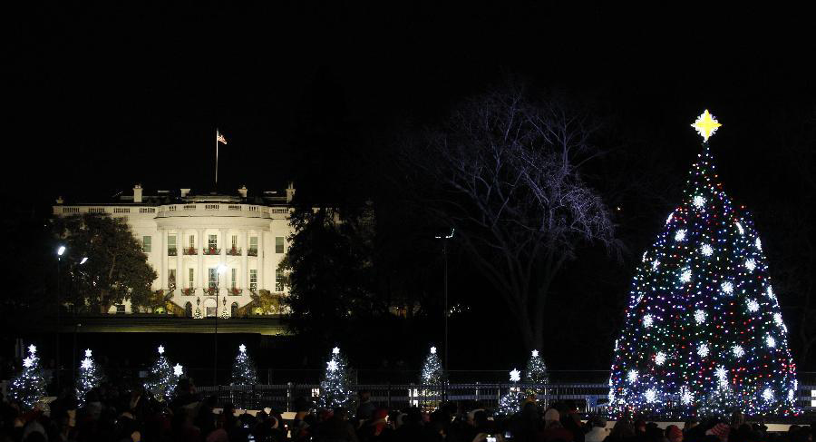 12月1日,位于白宫前的国家圣诞树被点亮.