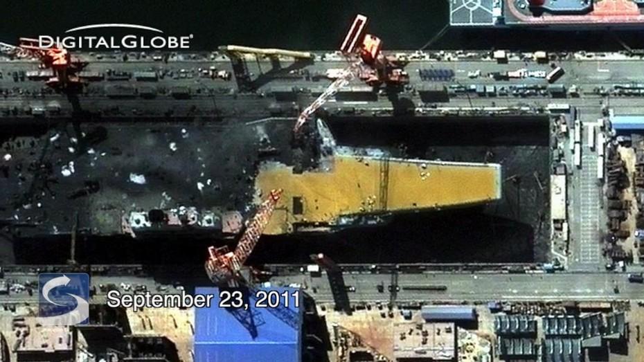 中国改装航母照曝光 细节可见