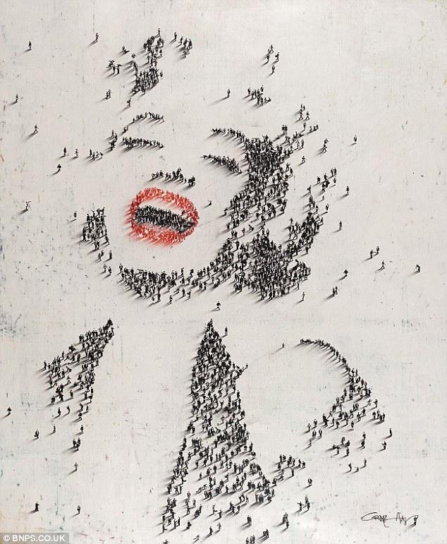 数百人沙滩组成 梦露 等名人肖像