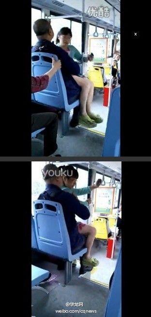 成都女子公交车独占两个座位 蛮横直接坐到大爷腿上(组图)