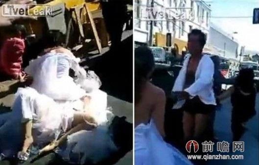 两新娘争新郎躺地上互相撕扯 新郎仅剩内裤自作自受