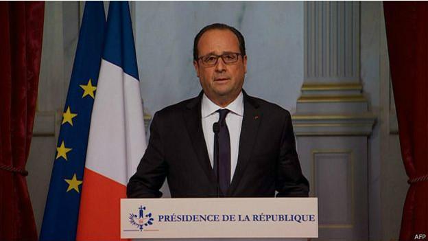 法国总统奥朗德称恐怖袭击系IS所为