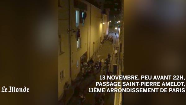 法国《世界报》记者拍下音乐厅观众逃生现场。视频来源:世界报