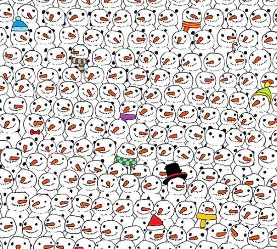 一张图火爆外国朋友圈:你能从雪人里找到熊猫吗?