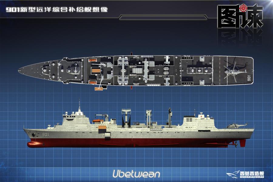 """国产""""航母奶妈""""在建照曝光:中国补给舰吨位堪比航母(图)_图1-4"""