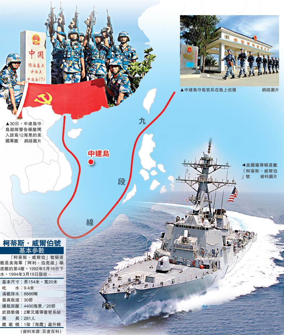 1月30日,中建岛守岛部队警告驱离闯入该岛12海里的美国军舰(网络