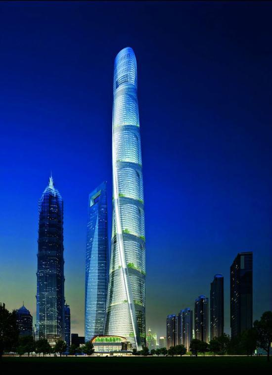 世界第二高楼上海中心大厦完工 55秒可达119层
