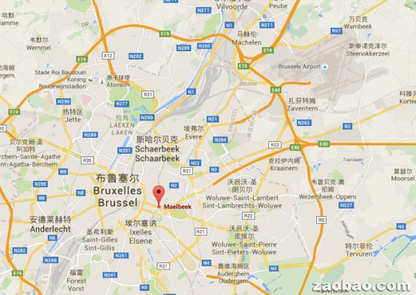 位于地图右上角的布鲁塞尔机场发生爆炸后约40分钟后,市中心马尔比克地铁站(Maelbeek Metro)也发生爆炸。(谷歌地图)