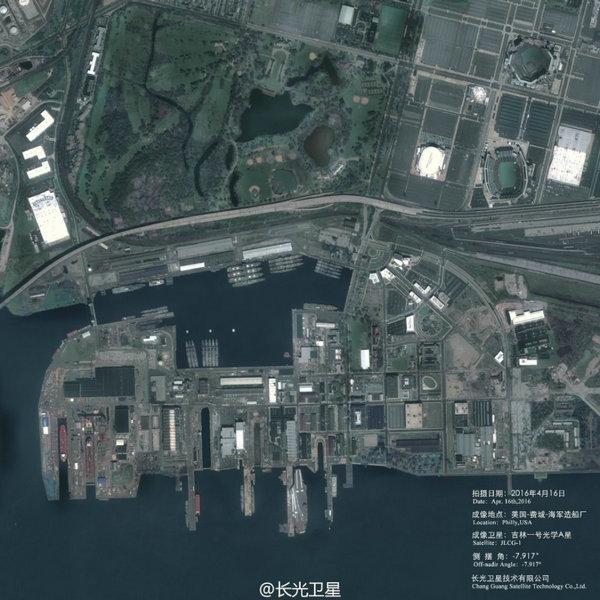 图为吉林一号光学A星4月16日拍摄的影像,停靠在港口内的不同类型舰船清晰可辨,颇为壮观!