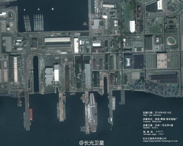 图为中国卫星高清拍摄美军航母港口。