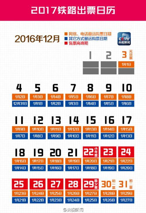 2017铁路出票日历