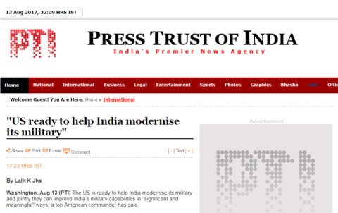 """印媒:美国准备好帮印度实现""""军事现代化""""_图1-3"""