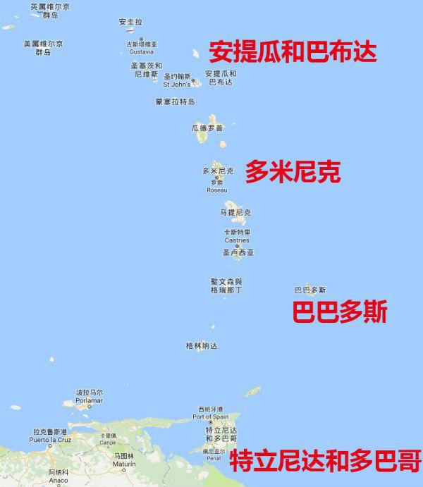 东加勒比海地图