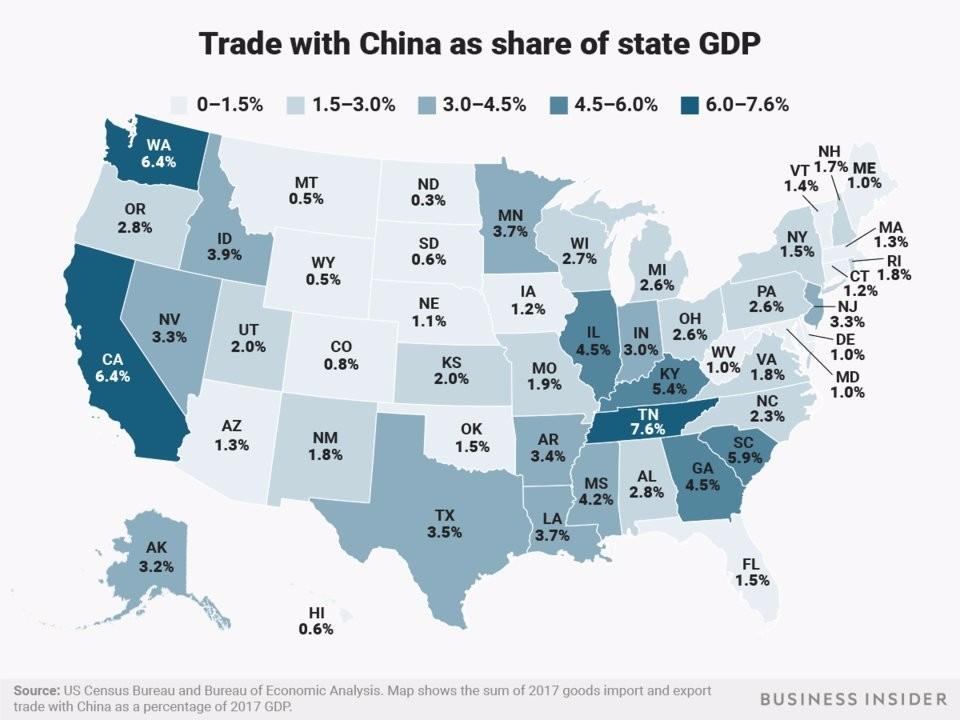若美国对2000亿美元中国商品征税 美国这些州最受伤!_图1-3