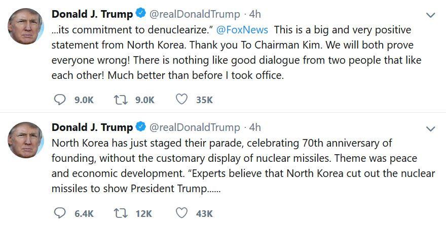 朝鲜阅兵未展示核导弹 川普:感谢金正恩做出重大且正面表态_图1-1