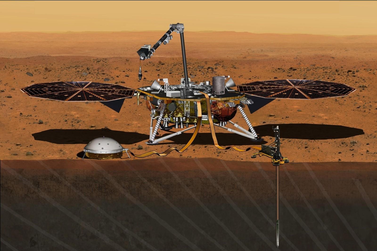 """人类首次探索火星内部 NASA""""洞察号""""完成着陆传回地表照片_图1-1"""