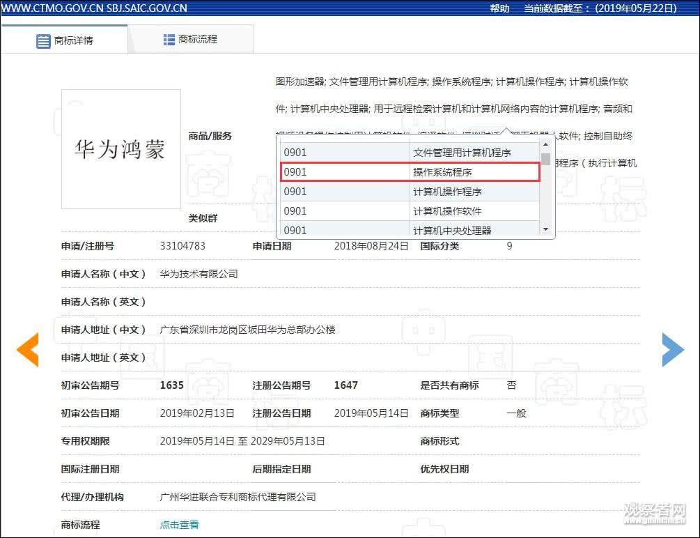 截图自国家知识产权局商标局网站 下同