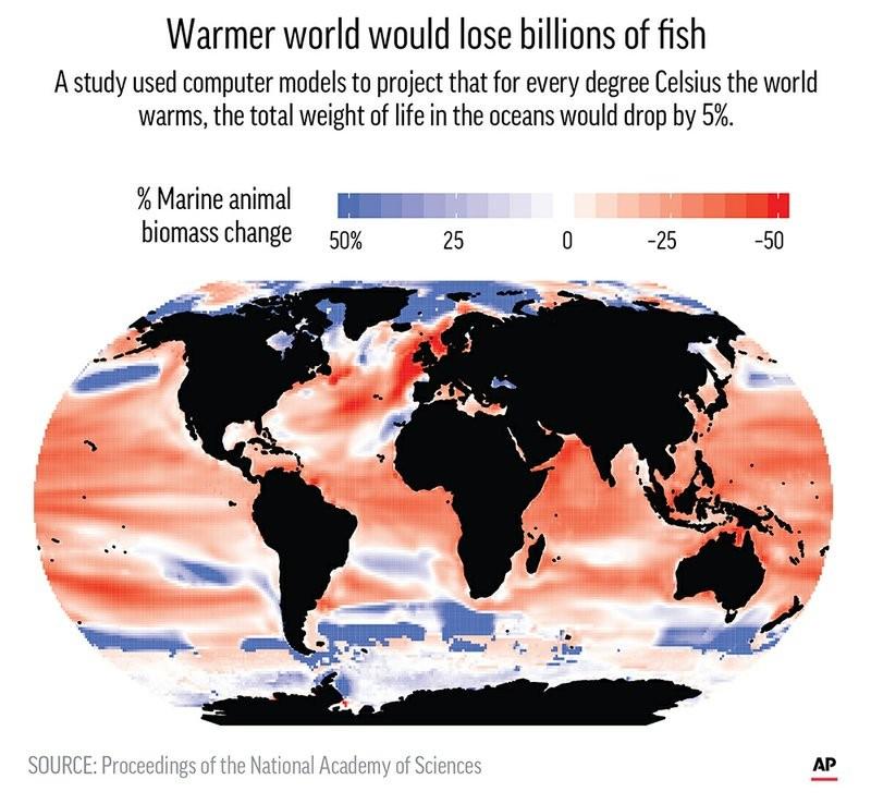 最新研究称气候变暖将使海洋鱼类减少近2成 危及人类生计_图1-4