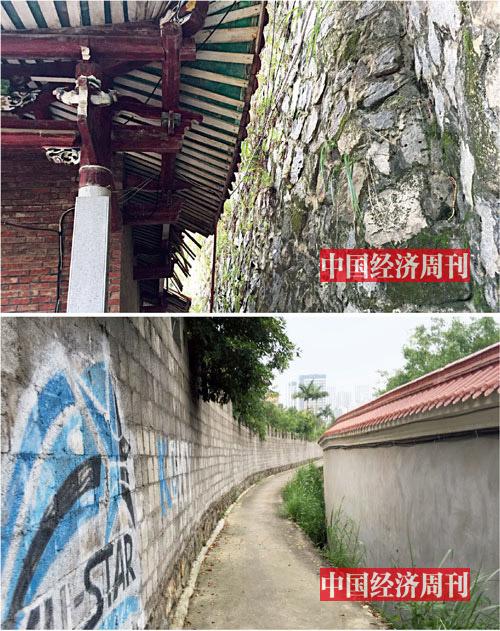 p19上图:围墙之下,月峰寺的房舍空间逼仄。下图:黄志贤所建的左侧围墙,导致通向寺院的道路最窄处只有一米多宽。《中国经济周刊》记者胡巍| 摄