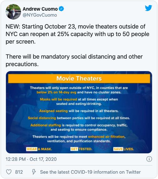 库默:纽约市以外地区可重开电影院 打击群聚感染已有成效_图1-4