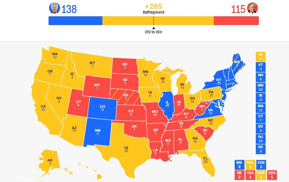 2020美国大选夜【实时更新】:截止11点 川普115票,拜登138票