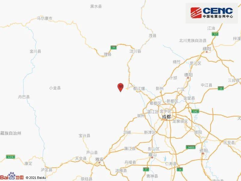 汶川4.8级地震 四川地震局:属汶川余震区起伏_图1-1