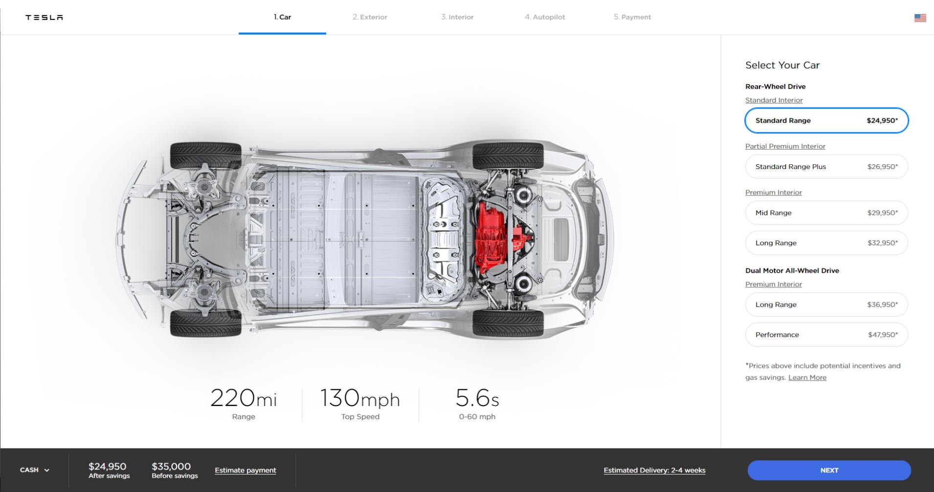 特斯拉终于推出标准版Model 3  起售价$35,000_图1-4